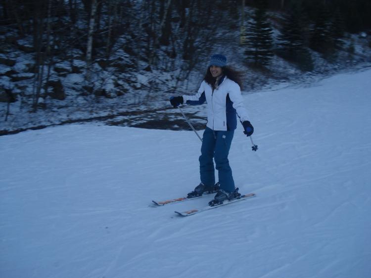 Primeira vez esquiando